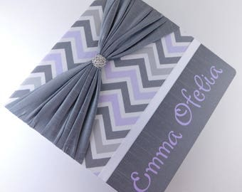 Girl Baby Book Baby Memory Book Personalized Purple Chevron Gray Modern baby Book Scrapbook Shower Gift Keepsake Album Pregnancy Journal