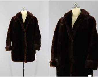 Vintage 1950s Mouton Fur Coat / 50s Fur Jacket / Dark Brown Fur / Winter Wedding / Sheared Lamb / Size Large XL XXL