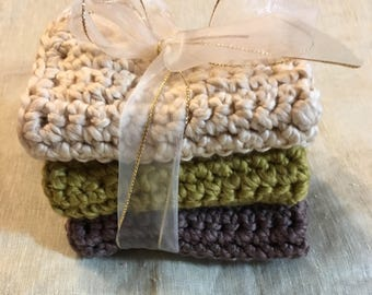 Baby boy shower gift organic wash cloth  brige brown sandy nutral Hand Crocheted Organic Cotton Wash Cloth Cotton Dish Cloth