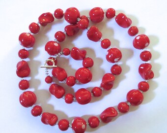 Red Kazuri Beaded Necklace, Ceramic Necklace, Kazuri Necklace