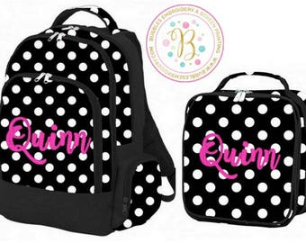 Girls Black and White Monogrammed Backpack and Lunch Box Set Polka Dot