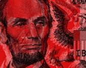 Lincoln Pop Art Andy Warhol style - red background