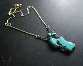 Turquoise Talisman Necklace - FREE Shipping - OOAK - turquoise howlite, gold, brass