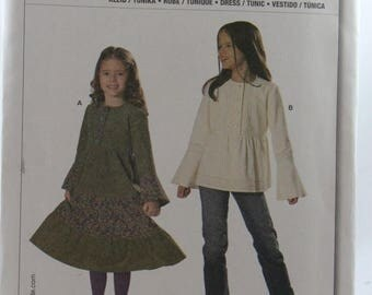 ON SALE Burda 9673, Girls' Dress and Tunic Top Sewing Pattern, Girls' Tiered Dress Pattern, Girls' Tunic Pattern, Size 4 to 10, Uncut