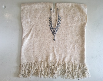 Beautiful Oatmeal Vintage Handwoven in California Poncho