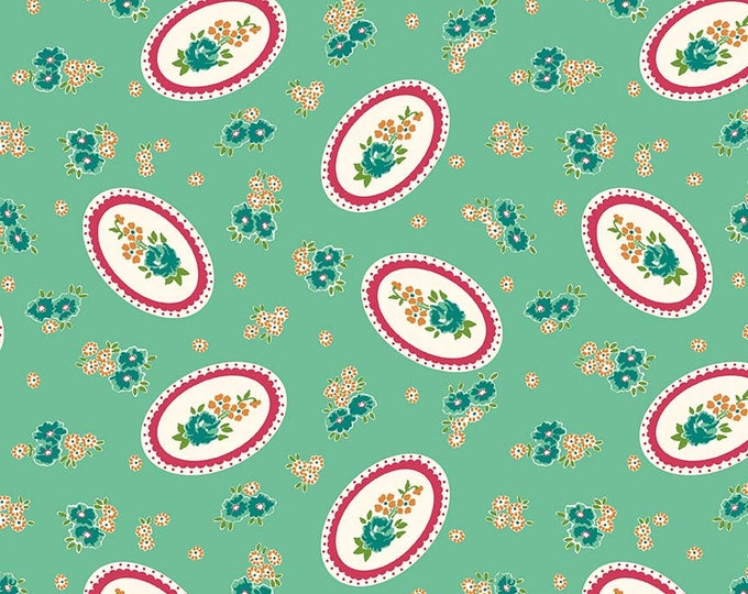 Prim and Proper Fabric by Lindsay Wilkes from The Cottage Mama for Riley Blake Designs and Penny Rose Fabrics - Teal Cameo