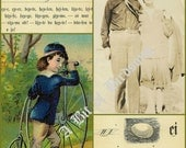 Let's Go Birding: journal cards digital download. 2 sheets - Each sheet 8-1/2 x 11 inches. Vintage images, boy with bicycle, bird egg, birds