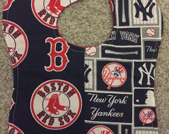 New York Yankees / Boston Red Sox MLB Baseball House Divided Rival Handmade Baby Bib