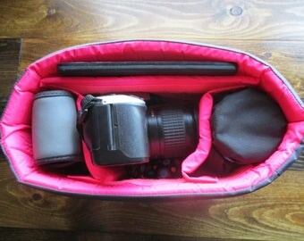 HOT PINK & Grey Camera Bag Insert  - Adjustable Divider - Size 5x10x7 - INSTOCK