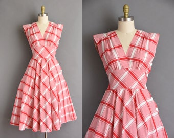 vintage 1950s style red and white plaid cotton full skirt summer dress