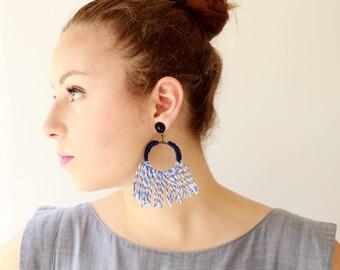 Blue earrings , Trendy statement earrings , bold textile hoop earrings, long tassel earrings , lightweight soft jewelry free shipping