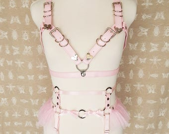 Pink Faux Leather Cage Body Harness Set, Pink Cage Harness Set, Faux Leather Cage Harness Set, Burlesque Harness Set, BDSM Harness Set