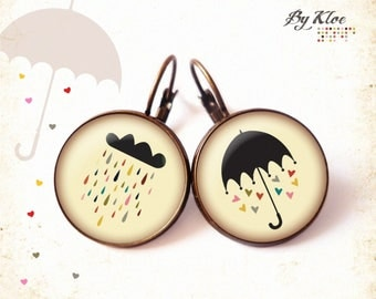 Earrings sleepers Cabochons Vive rain • •