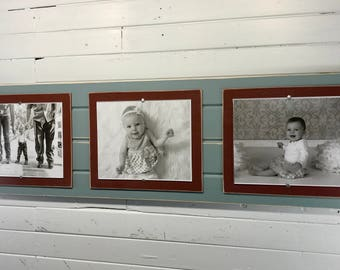 Distressed wood picture frame triple 8x10