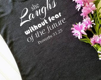 Scripture tank top, Running tank, Fitness tank top, Christian tank top, Workout Tank, She Laughs Without Fear of the Future, Proverbs 31:25