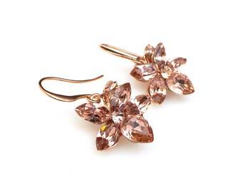 bridal jewelry bridesmaid gift prom Swarovski vintage rose blush pink multi shape flower crystal rhinestone drop rose gold hook earrings