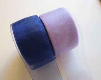 5 yards MIDORI ribbon - organdy ribbon - royal blue or lavender - your choice - 1.625 inches wide