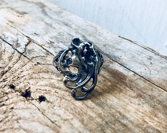 Vintage Art Nouveau Style Ring Size 8.5 Sterling Silver Artisan Made Arts and Crafts Gifts For Her Lady With Flower