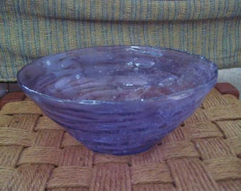 Recycled violet colored glass bowl