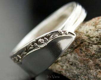 Spoon ring, Brittany Rose pattern ring, promise ring, trendy ring, handmade jewelry, Boho ring, small flower ring,narrow rings,rose ring