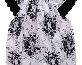 Bubble Romper Baby Lacy Black & White Rose Motif