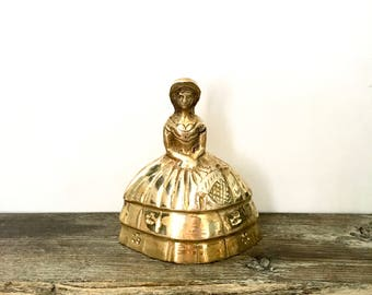 Vintage Brass Lady Bell Figurine with Layered Dress