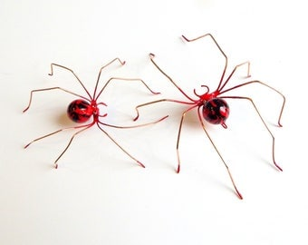 Small Pair of Red Copper Handmade Spiders, Little Devil Spiders, Two Red Flame Spiders, Collector Bug, Unique Gift, Mom and Baby Spider