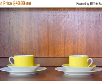 CIJ SALE 25% OFF vintage fitz and floyd yellow porcelain tea set - set of two