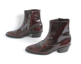 mens size 11 OXBLOOD leather WESTERN 70s BEATLE zip up boots