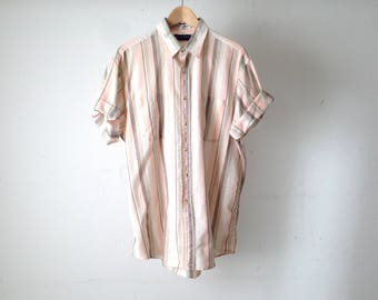 vintage NIRVANA faded striped oversize LINEN slouchy 90s y2k vintage men's button up down top