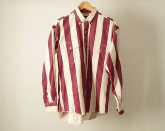 GRUNGE vintage long sleeve COLOR block oxford 90s cotton striped  button up shirt men's RED & white oxford shirt top