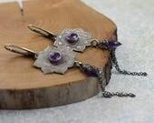 Purple long earring, silver etched earring, metalwork jewelry, elegant earring, mandala earring