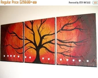 extra large wall art tree of life Original painting abstract triptych landscape large impasto wall canvas art Palette Knife 3 sizes