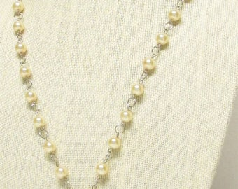 """34"""" Cream Glass Pearl Necklace with Heart Pendant #20512"""