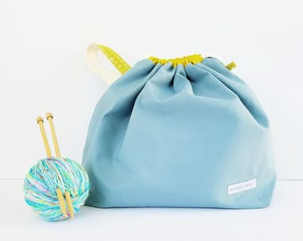 Giant LIGHT BLUE Canvas Drawstring Project Bag, Canvas Bag, Large Project Bag, Knitting Bag, Crocheting Bag, Gifts for Knitters