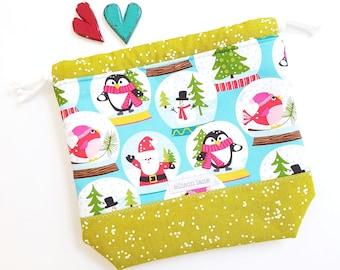Small Blue Snow Globes, Knitting Bag, Christmas Bag, Yarn Project Bag, Sock Bag, Hat Project Bag, knitting bag