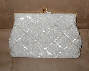 Vintage White Beaded  Evening Bag Clutch Purse