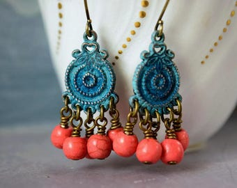 Turquoise & Salmon Coral Earrings Chandelier Earrings Green Patina Turquoise Earrings Orange Coral Earrings Magnesite Bohemian Antique Brass