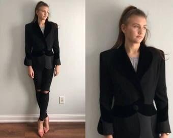 Vintage Bassant Paris Black Jacket, Evening Jacket, Couture Jacket, Ladies Black Formal Jacket, Bassant Paris, 1990s Jacket