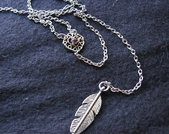 Lariat necklace silver | women jewelry | feather | boho chic | rustic | heart | purple rhinestone | y necklace lariat