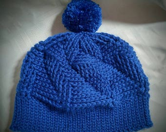 Crocheted Slouchy Hat with Pom Pom