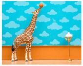 Giraffe art print with basketball: Standing Tall