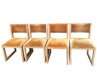 solid oak dining chairs upholstered in wool