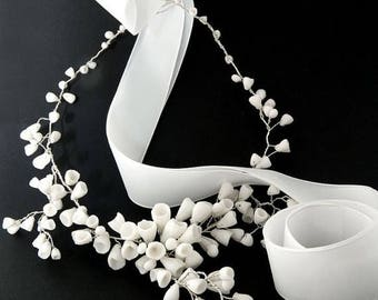 SALE Bridal white porcelain bouquet of flowers and sterling silver necklace, necklace for wedding day