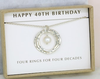 40th birthday gift, June birthstone necklace, June birthday gift for her, pearl necklace silver, 40th gift - Lilia