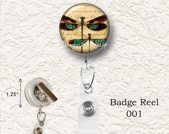 "Dragonfly Retractable Badge Reel,  1.25"" Choose your Favorite from the 4 Different Prints, Buy 3 Badges Get 1 Badge Free  002BR"