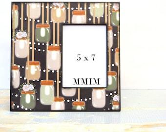 Mason Jar Picture Frame, Large Picture Frame, 5 x 7 Photo Frame, Bell Jar, Wedding, Twinkle Lights, Outdoor Wedding, Mason Jar Light