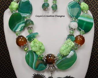 Western Necklace Set - Cowgirl Necklace Set - Green Statement Necklace - Horse Pendant Necklace - Chunky Western Jewelry- Boho - GREEN BROKE