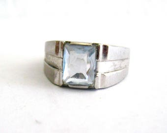 RESERVED Do Not Buy Vintage 14K White Gold Ring Emerald Cut Ice Blue Topaz