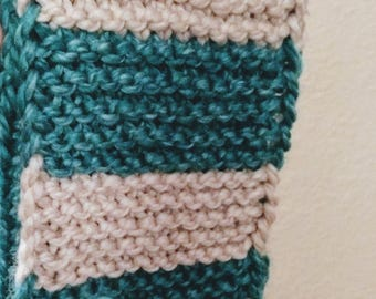 Teal Green and Mushroom Cream off-white Kid's striped hand knit scarf, Ready to ship